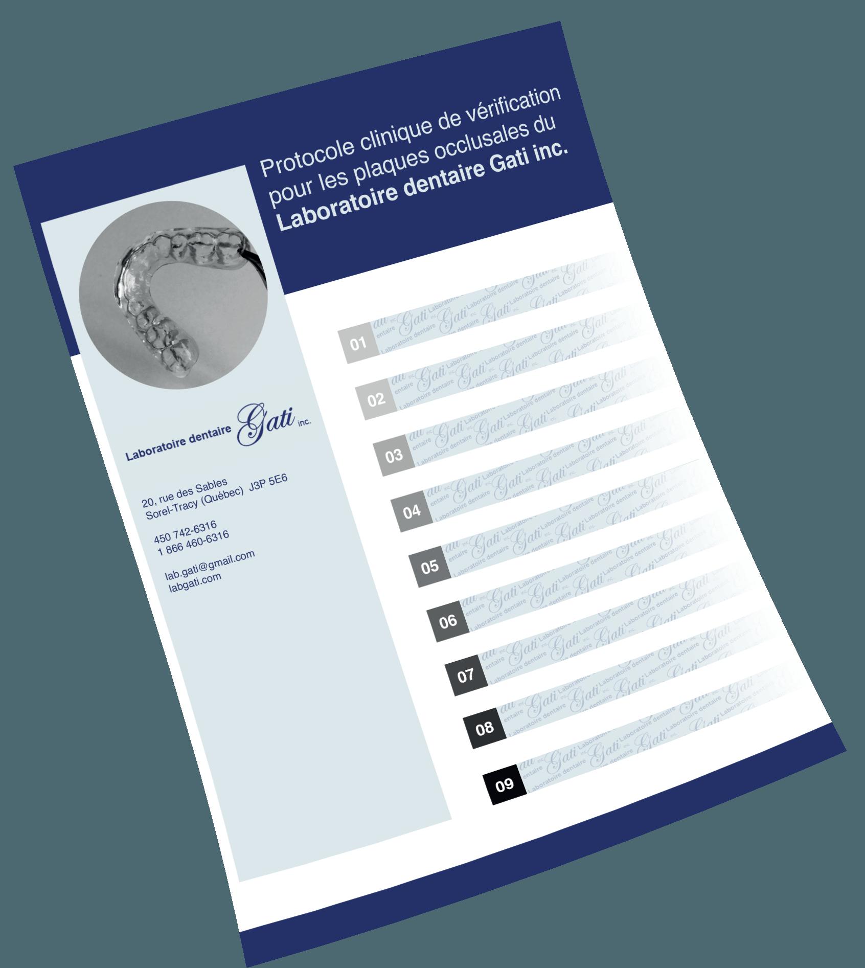 Protocole clinique de vérification plaques occlusales | Laboratoire dentaire Gati inc.